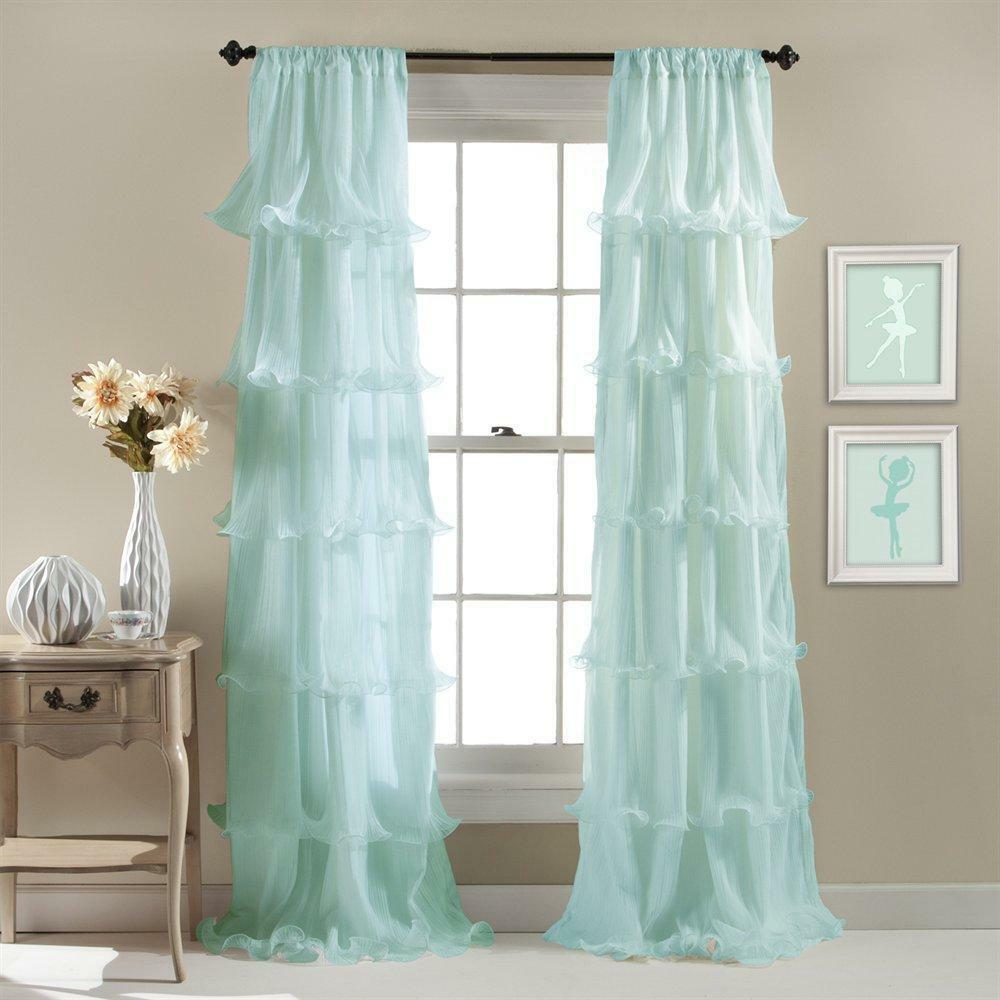 "MODERN RUFFLED GYPSY WINDOW CURTAIN PANEL 84"" LENGTH Aqua"