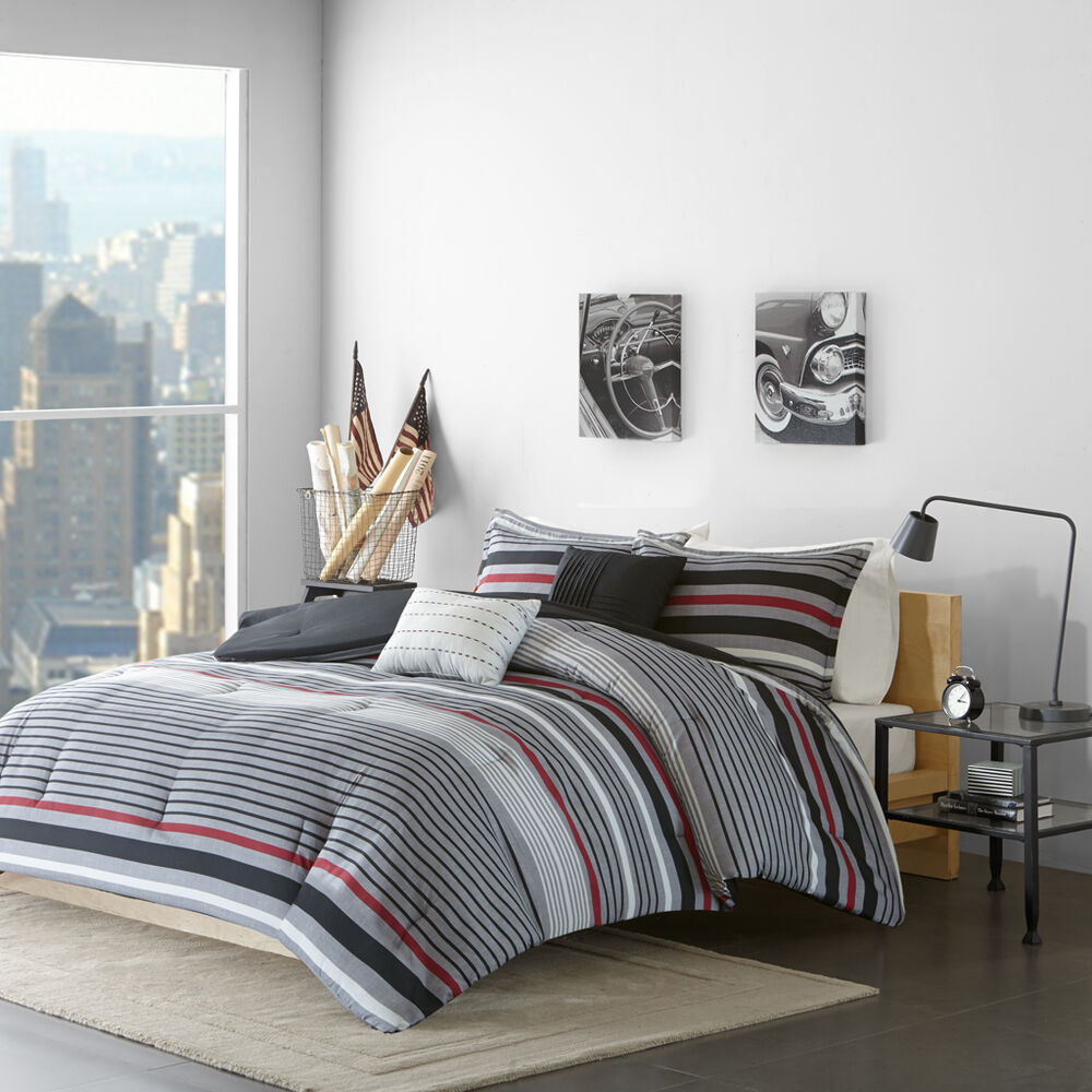 beautiful modern grey black red white sport stripe comforter set full queen ebay. Black Bedroom Furniture Sets. Home Design Ideas