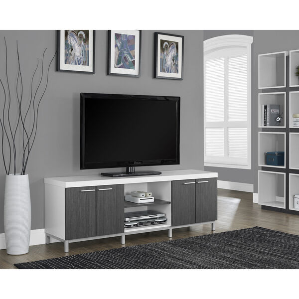 Tv Entertainment Center Modern White Unit Stand Furniture