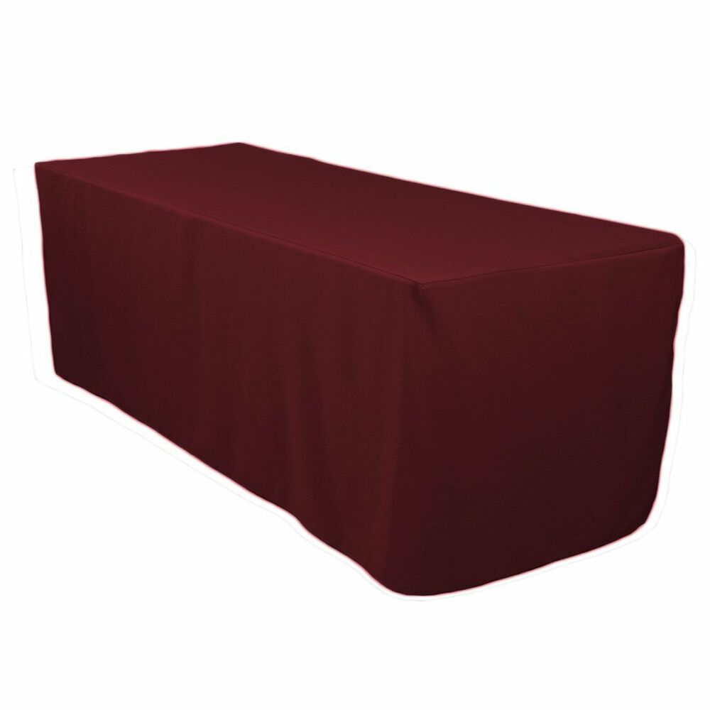 polyester tablecloth 6 foot folding table fitted table skirt cover purple travel ebay. Black Bedroom Furniture Sets. Home Design Ideas