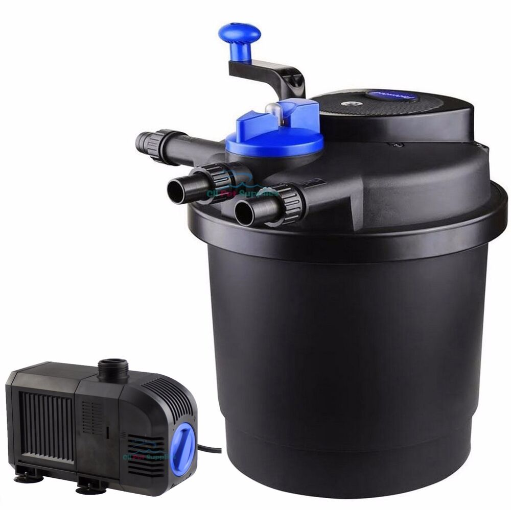 1600 gal pressure pond filter w 13w uv sterilizer koi for Outdoor fish pond filters and pumps