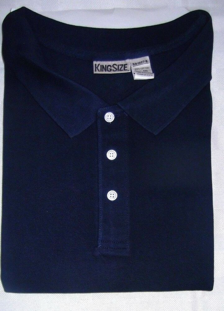 1 Short Sleeve Big Tall Men Blue Polo Type Shirt Sizes