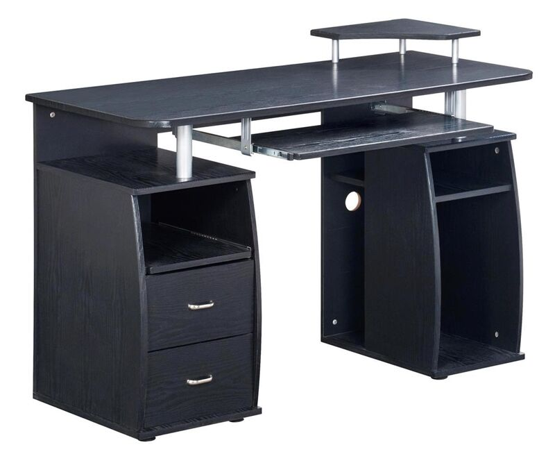 modern computer desk with 2 storage drawers pullout keyboard tray in espresso ebay. Black Bedroom Furniture Sets. Home Design Ideas