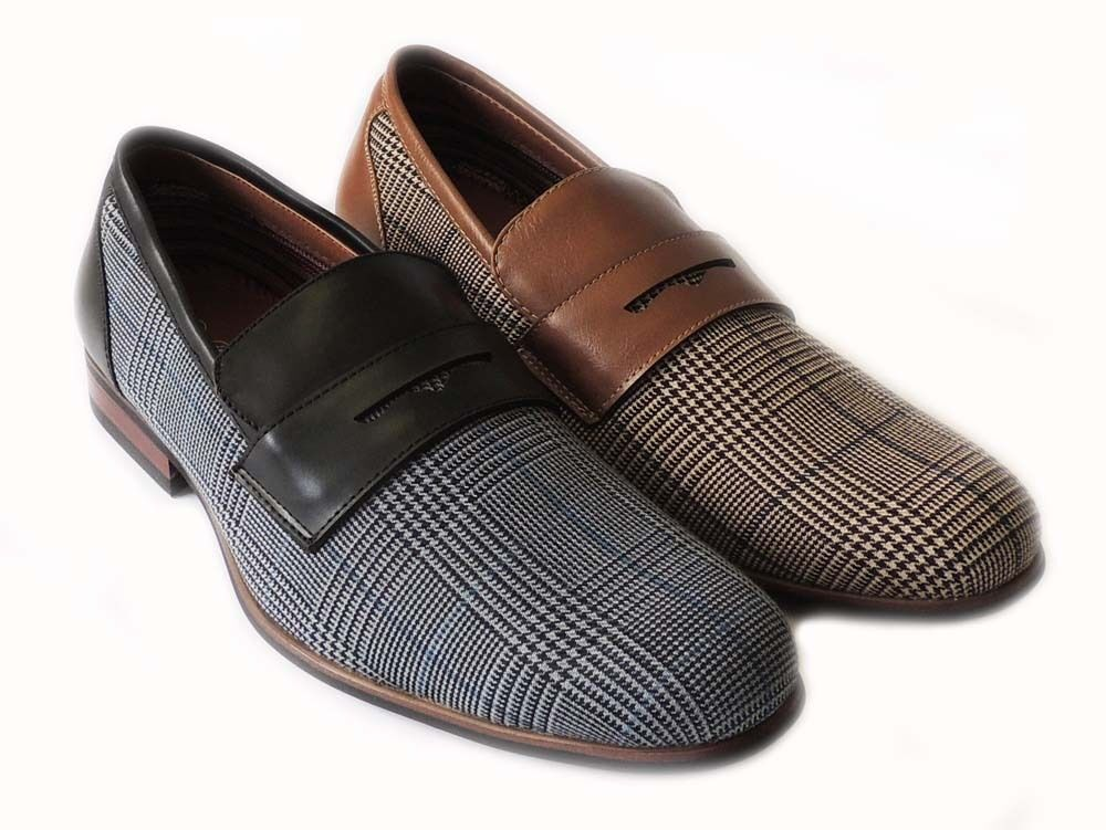 new mens plaid loafers boat slip on leather lined dress