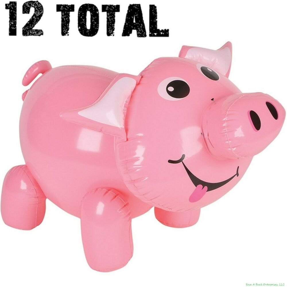 12 Inflatable Pig Blow Up Piggie Piggy Pool Party