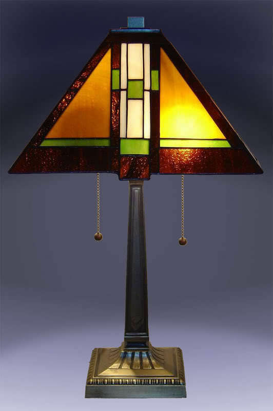 Stained Glass Lamp Shades For Table Lamps : Tiffany style stained glass mission table lamp quot shade
