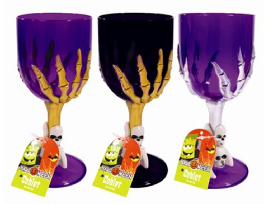 Halloween plastic skull goblets cups party drinking wine glass quant 1or3 a97 ebay - Plastic medieval goblets ...