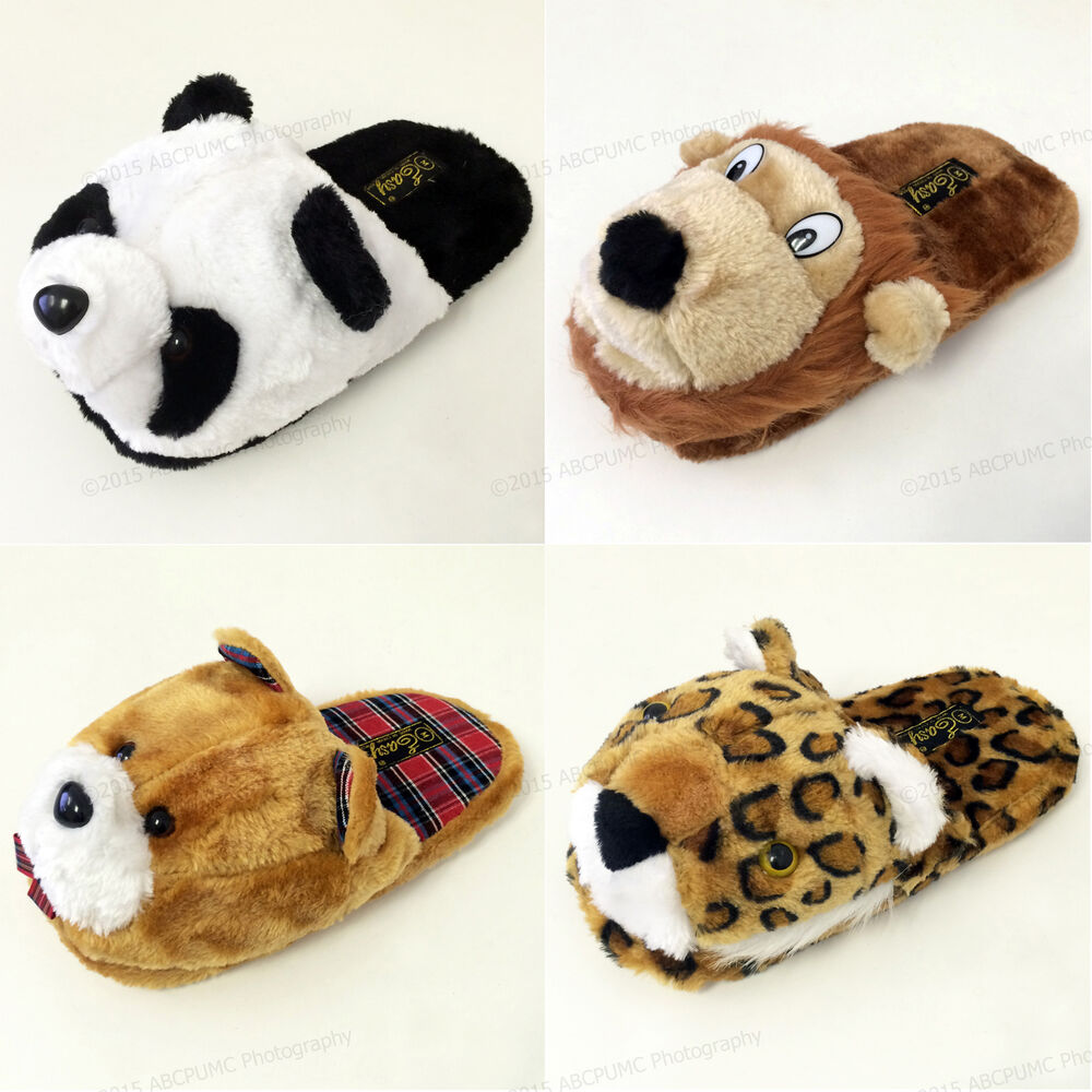 women 39 s animal house slippers plush fuzzy cushion cozy bedroom shoes s m l xl ebay. Black Bedroom Furniture Sets. Home Design Ideas