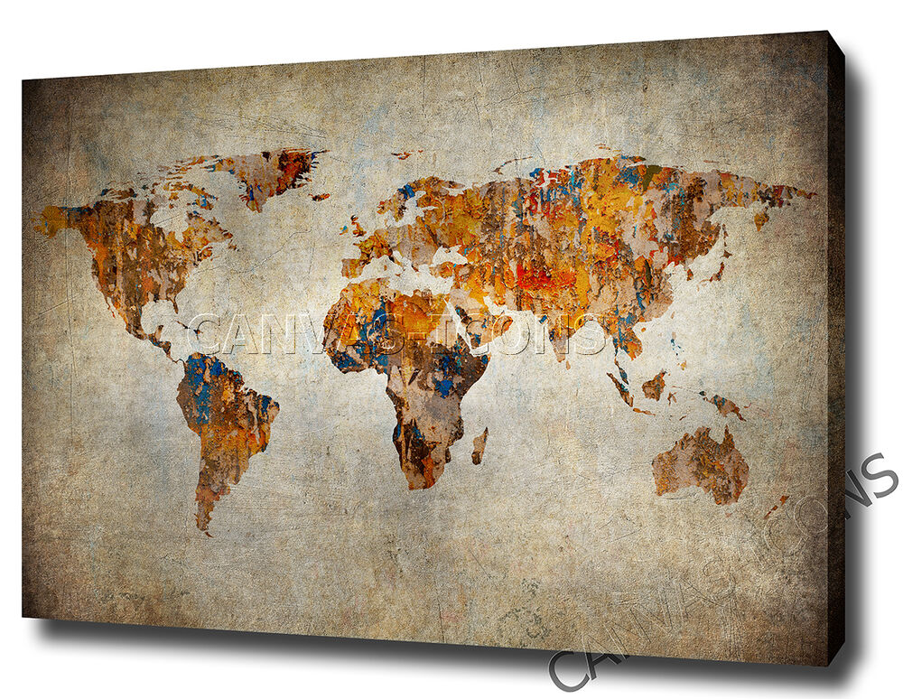 World map canvas print poster photo wall art rustic for World map wall print