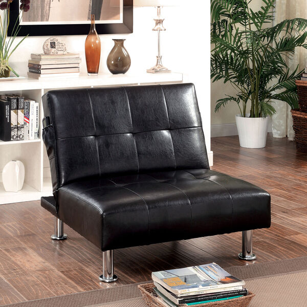 leather lounge chair modern tufted ottoman chaise couch black