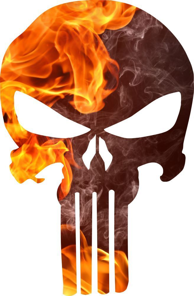 Punisher Skull Decal Fire Flame Punisher Decal