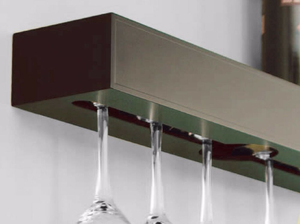 Wine 6 Glass Rack Shelf Holder Wall Mounted Wood Wet Bar