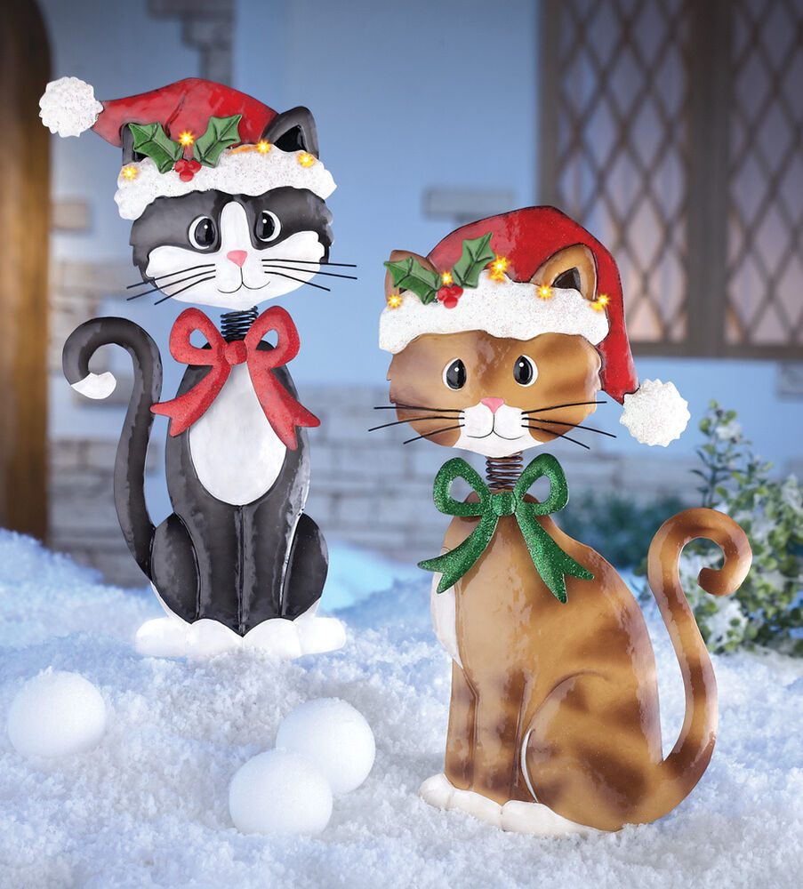 RED BOW TIE Holiday Bobble Head Cat Garden Stake Christmas