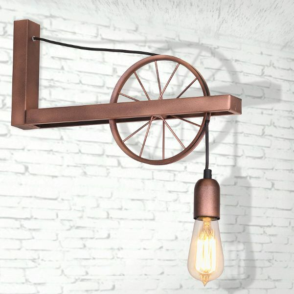wandlampe wandleuchte rad industrie fabrik leuchte jugend leuchte lampe bx1061 ebay. Black Bedroom Furniture Sets. Home Design Ideas