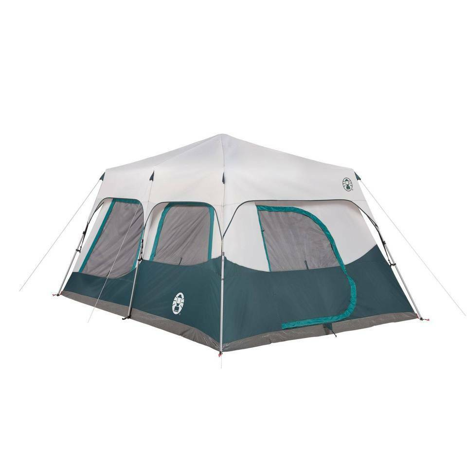 Coleman 10 person instant cabin tent set up in 60 sec for Tent over house