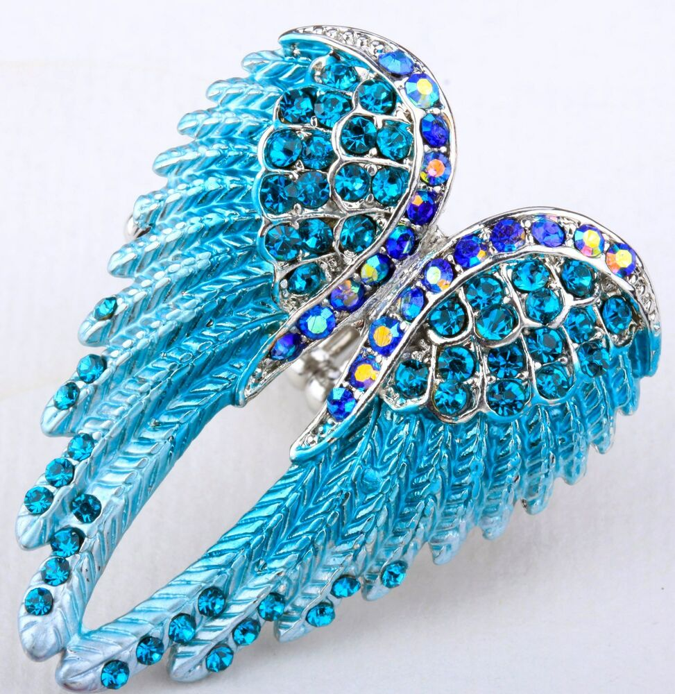 angel wings stretch ring crystal rhinestone fashion jewelry blue rd01 ebay. Black Bedroom Furniture Sets. Home Design Ideas