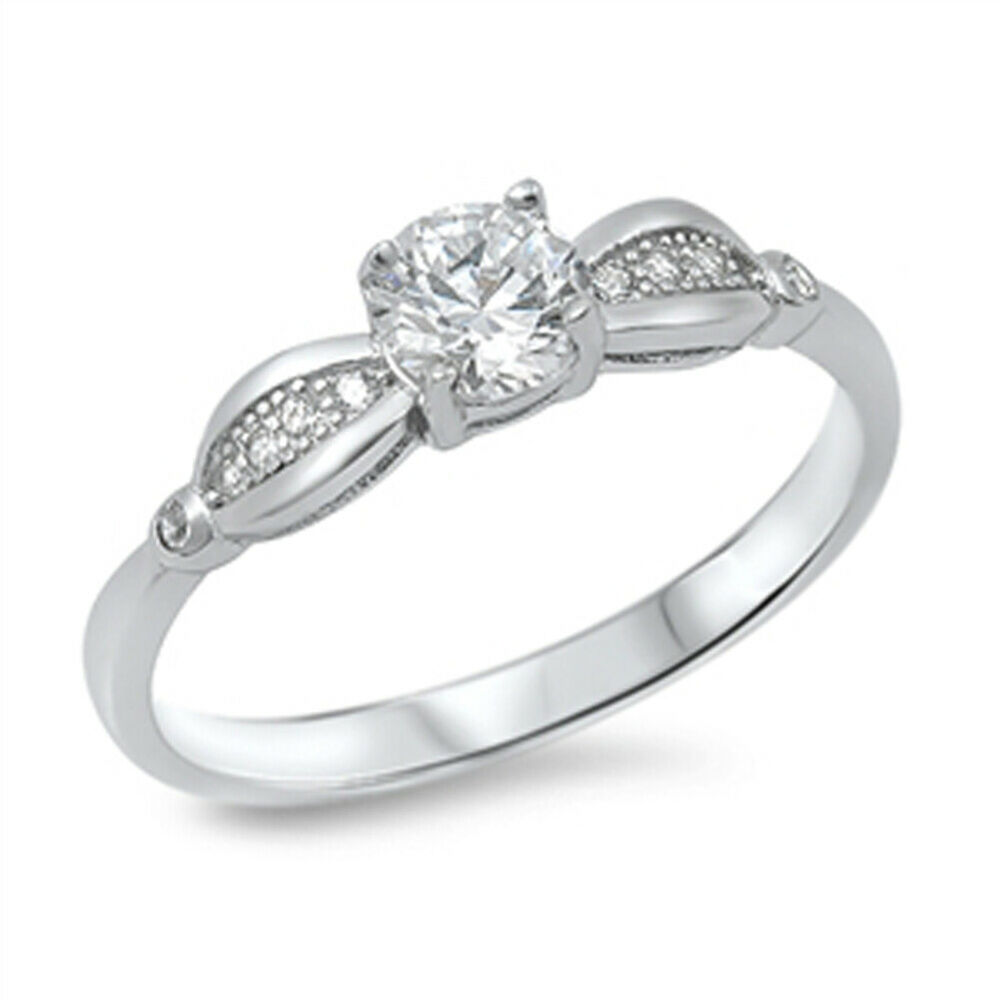women 39 s solitaire white cz promise ring new 925 sterling silver band sizes 5 10 ebay. Black Bedroom Furniture Sets. Home Design Ideas