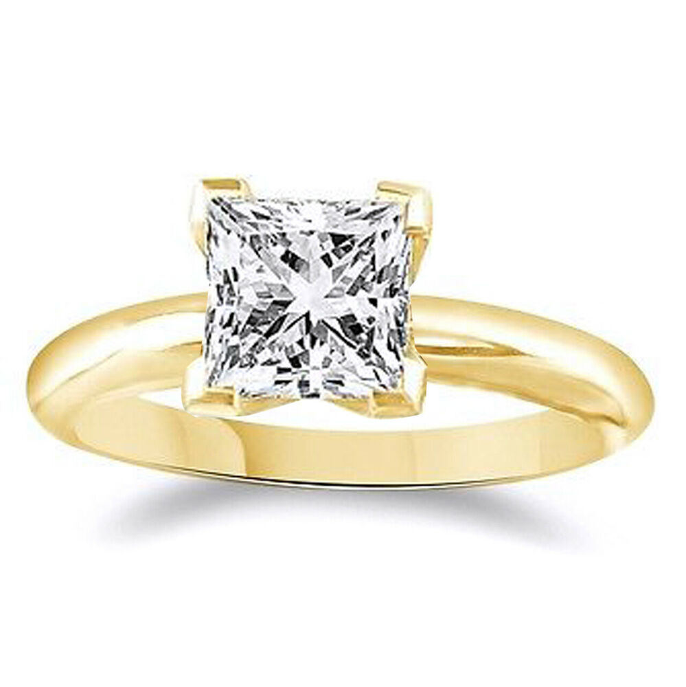 14k Yellow Gold 2 15 Ct Princess Cut Solitaire Engagement