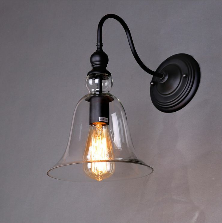 Retro barn clear glass indoods outdoors wall lamp sconce - Appliques murales orientables ...