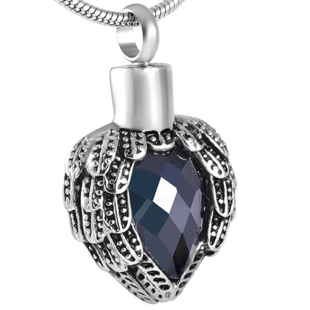 Stainless Steel Feathered Heart Cremation Pendant Urn