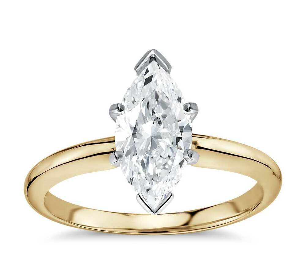 engagement solitaire ring 3 00 ct marquise cut 14 karat