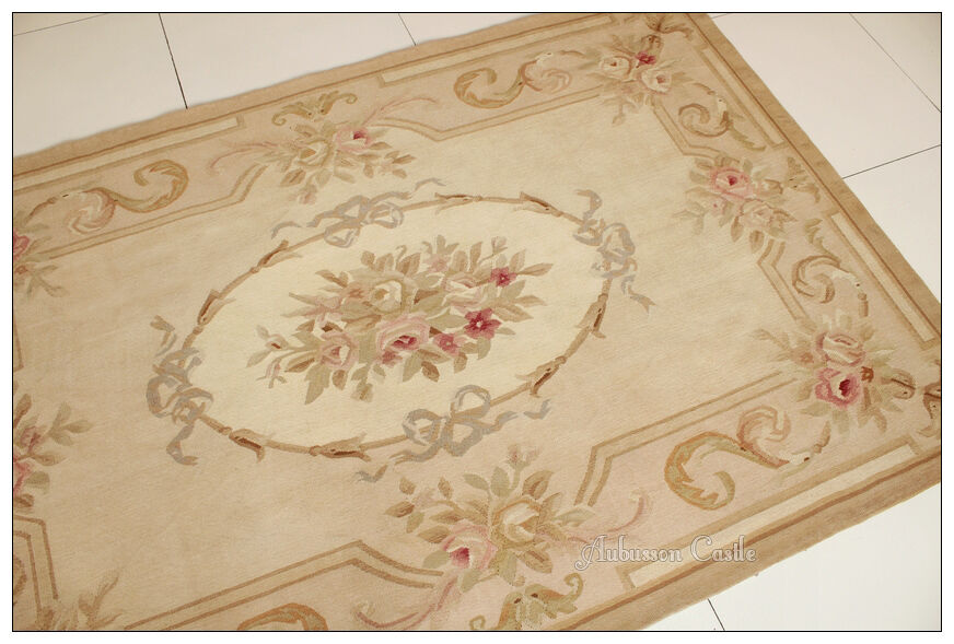 4X6 Aubusson Area Rug - ANTIQUE FRENCH PASTEL Wool ...