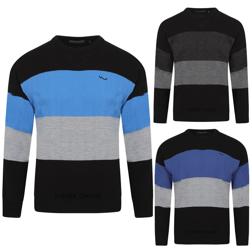 NEW MENS KNITTED CREW NECK SOFT KNIT STRIPE LONG SLEEVE ...