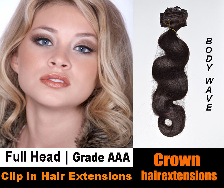 18 Full Head Clip In Remy Human Hair Extensions Body Wave Ebay