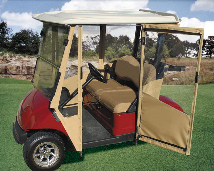 Hinged Door Golf Cart Enclosures : Doorworks toast sunbrella club car prec golf cart