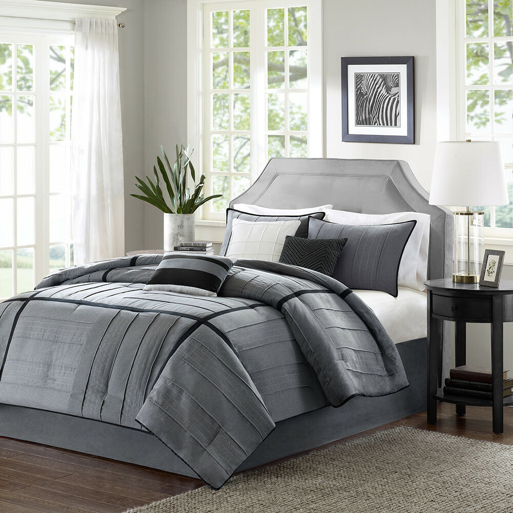 Beautiful modern elegant casual chic grey black stripe for Pictures of comforters