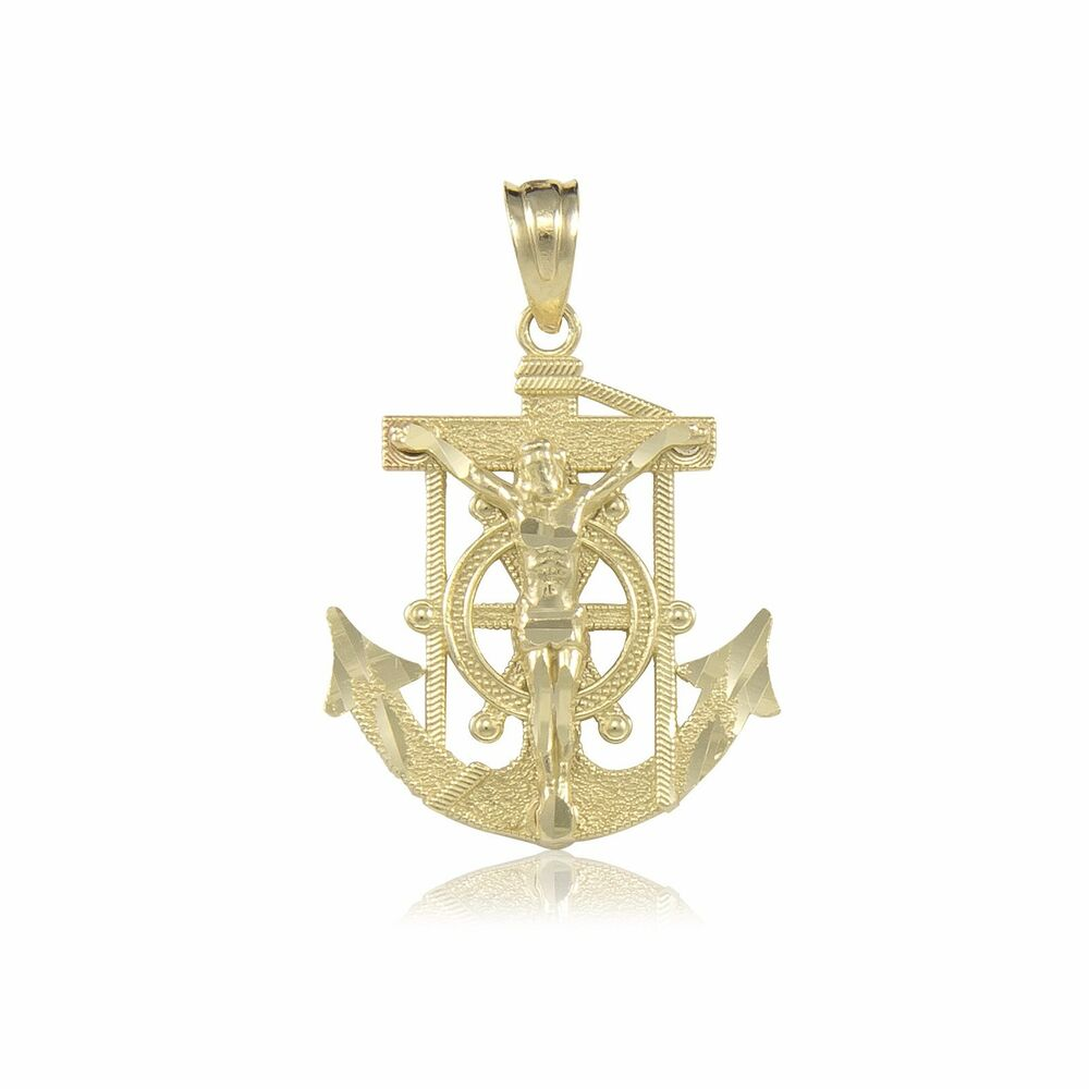 14k Gold Crucifix Necklace: 14K Solid Yellow Gold Jesus Crucifix Anchor Pendant