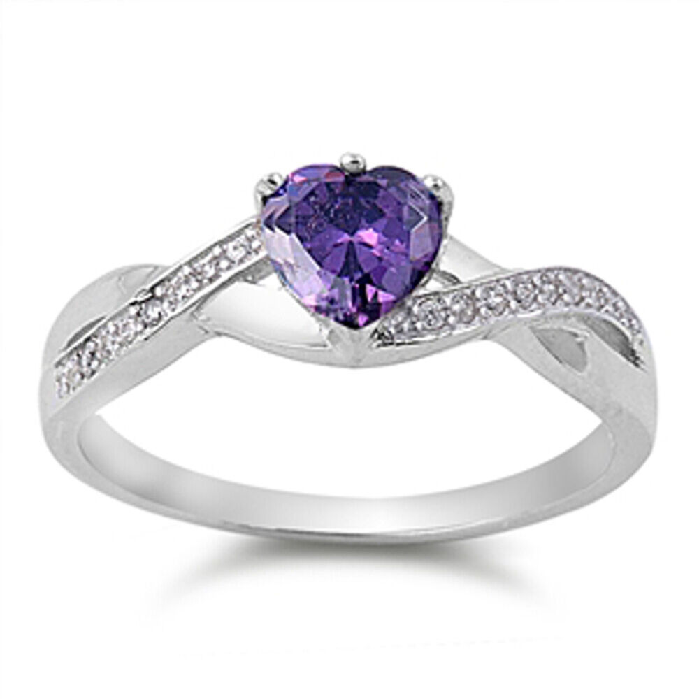 Heart Amethyst Cz Promise Ring New 925 Sterling Silver