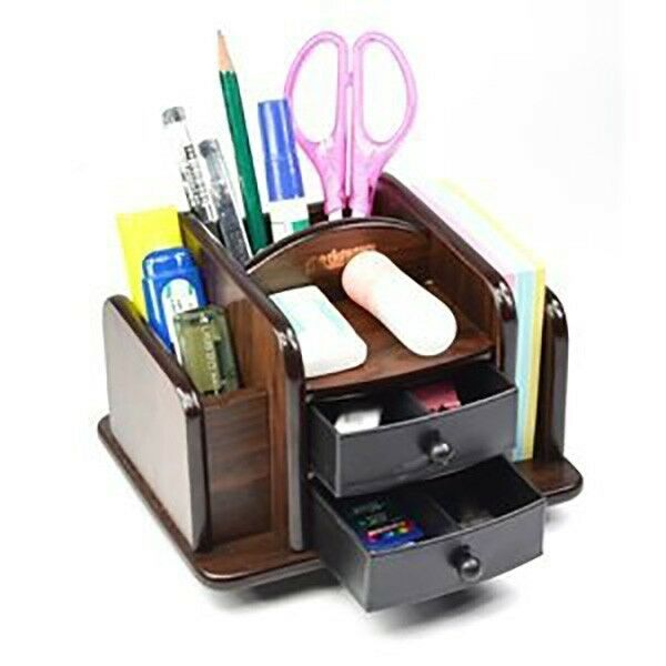 Wood Rotating Desktop Organizer Sorter Storage Holder