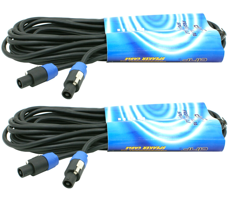 2 pack 25 ft speakon to speakon pa dj pro audio amplifier amp to speaker cable ebay. Black Bedroom Furniture Sets. Home Design Ideas
