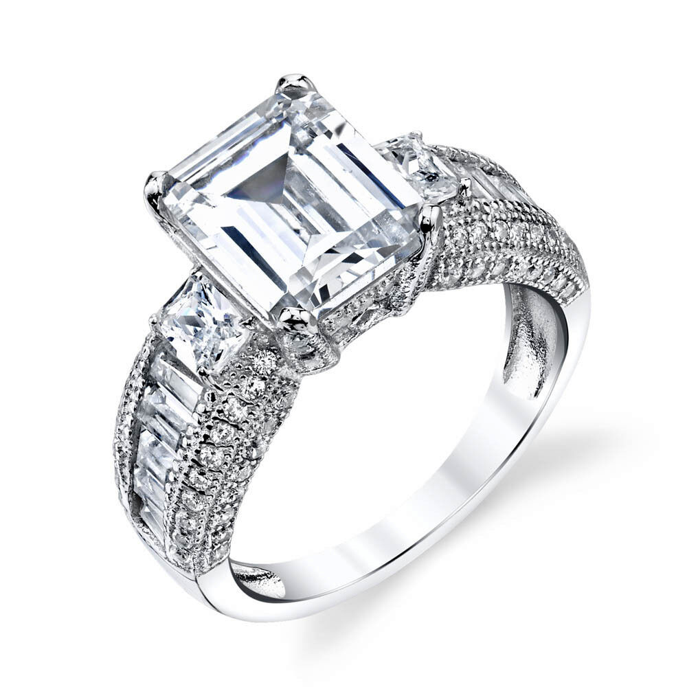 Contemporary Silvers: Sterling Silver Engagement Wedding Ring Emerald Cut Modern