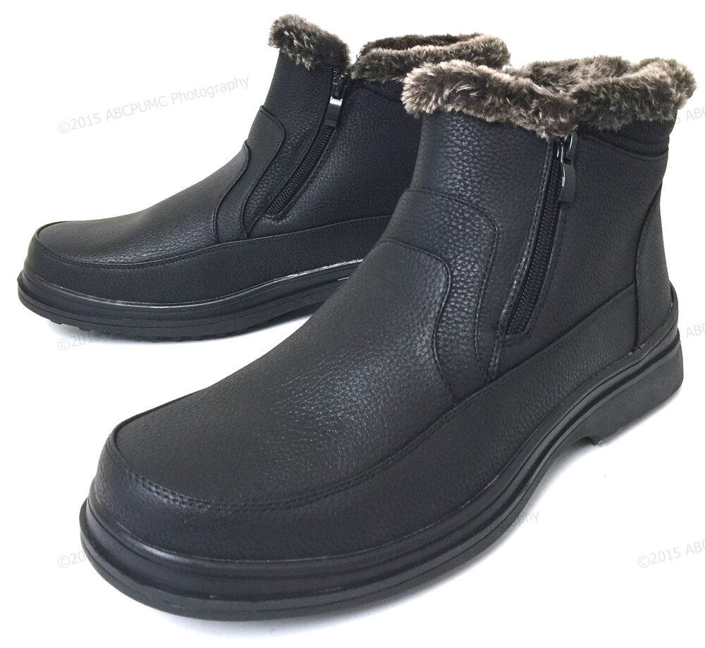 s winter boots black fur lined dual side zipper ankle