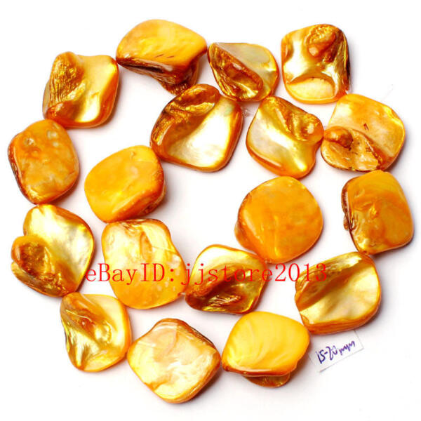 15-20mm Yellow Natural Shell MOP Freeform Shape Gemstone Loose Beads Strand 15