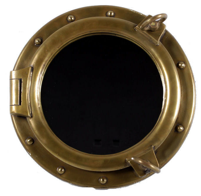 16 Quot Antique Brass Finish Porthole Mirror Wall Mount Resin