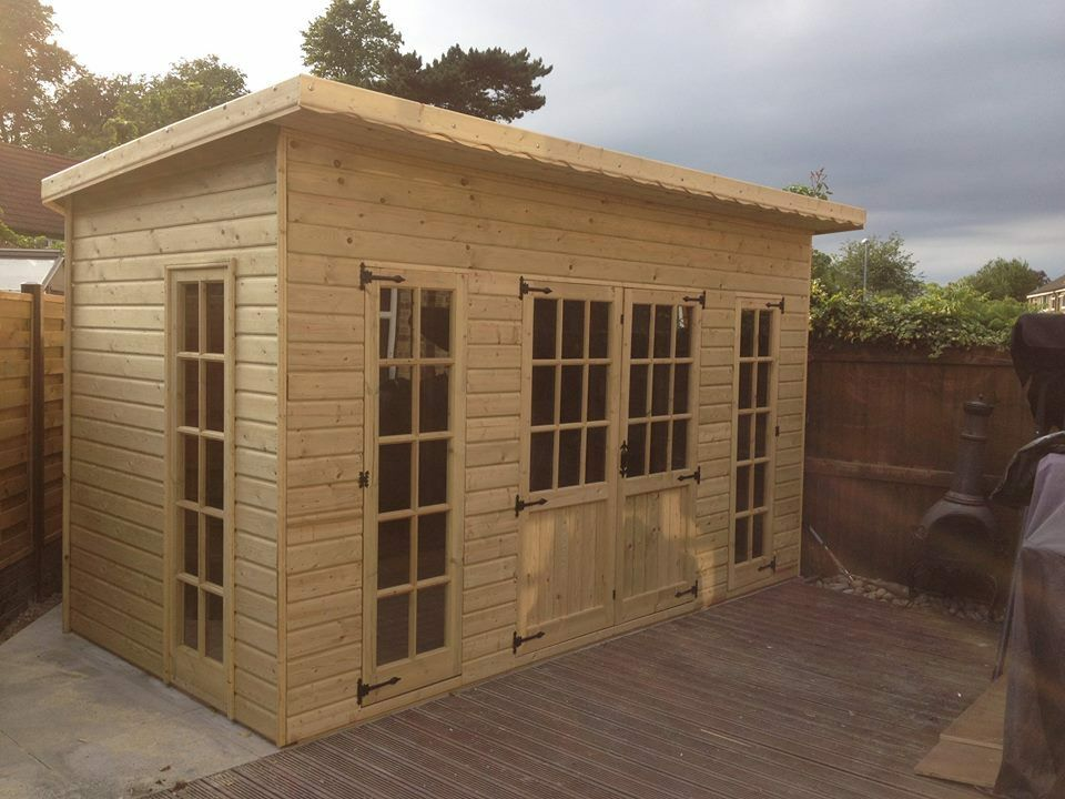 10x8 pent luxury summer house garden office shed play for Luxury garden office