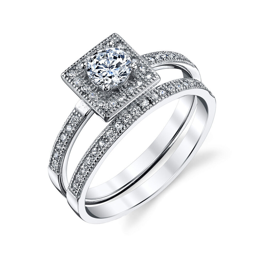 cz wedding ring sets 925 sterling silver square bridal cz engagement wedding 3280
