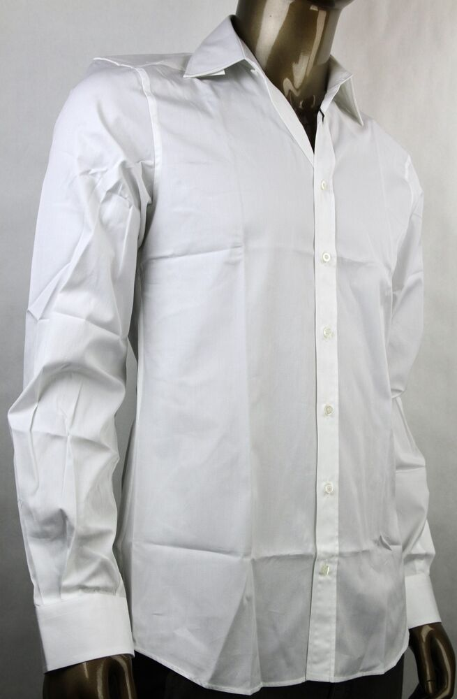 New gucci mens fitted button down dress shirt white 307668 for White non iron dress shirts