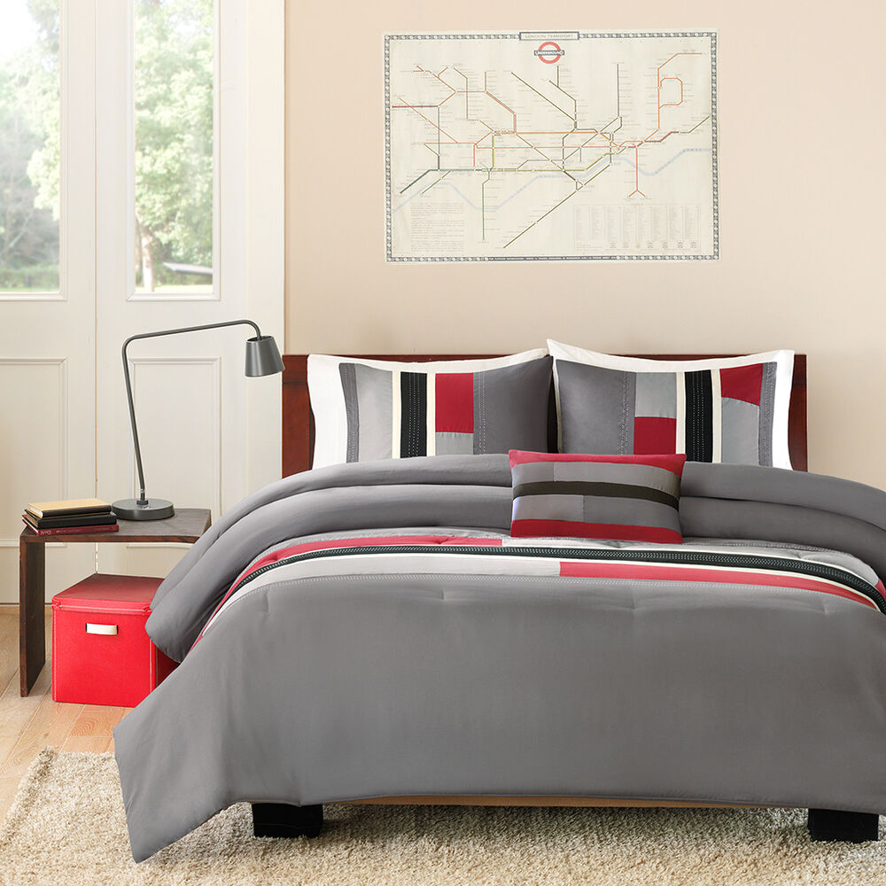 Beautiful modern casual sport grey white black red cozy for Amazing modern bedroom comforters