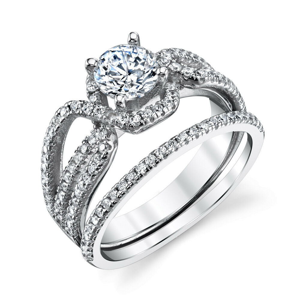 sterling silver cz engagement wedding ring set cubic zirconia micro