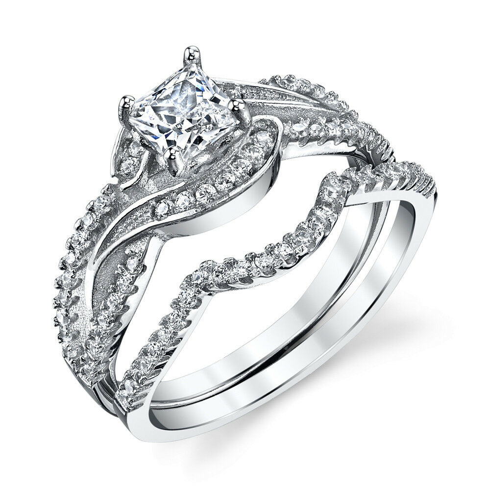 cz wedding ring sets 925 sterling silver cz engagement wedding ring set cubic 3280
