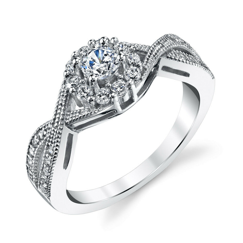sterling silver bridal cz engagement wedding ring set with cubic