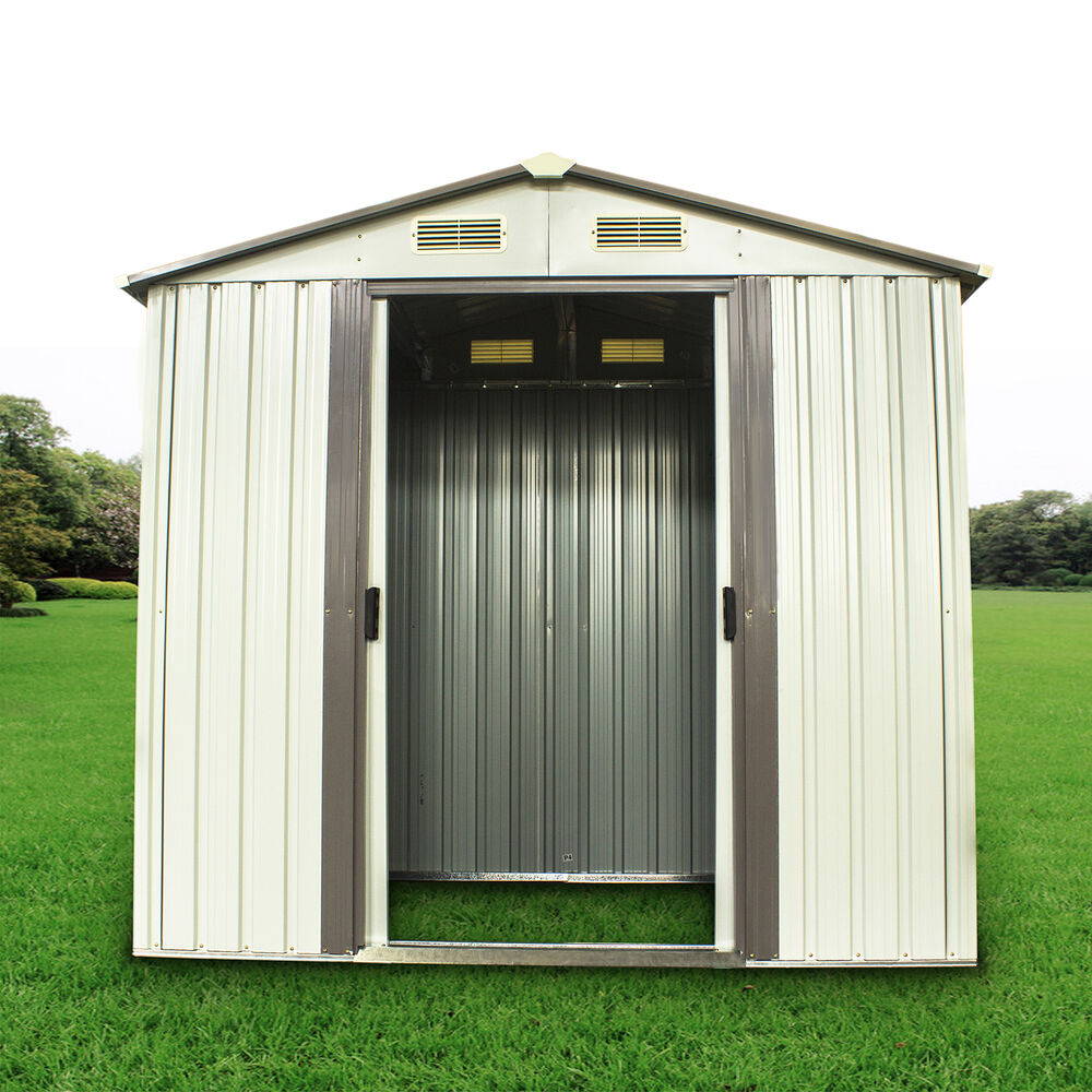 6 x 4 39 outdoor steel garden storage utility tool shed for Storage shed overhead door