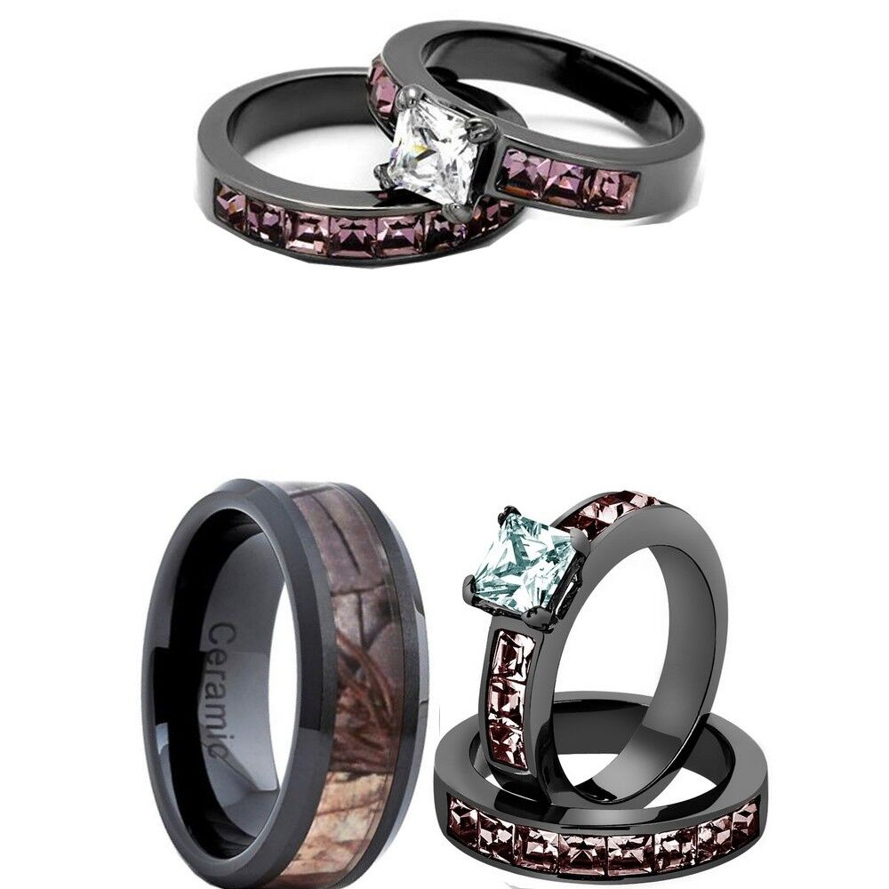 His And Her Camo Ring Set