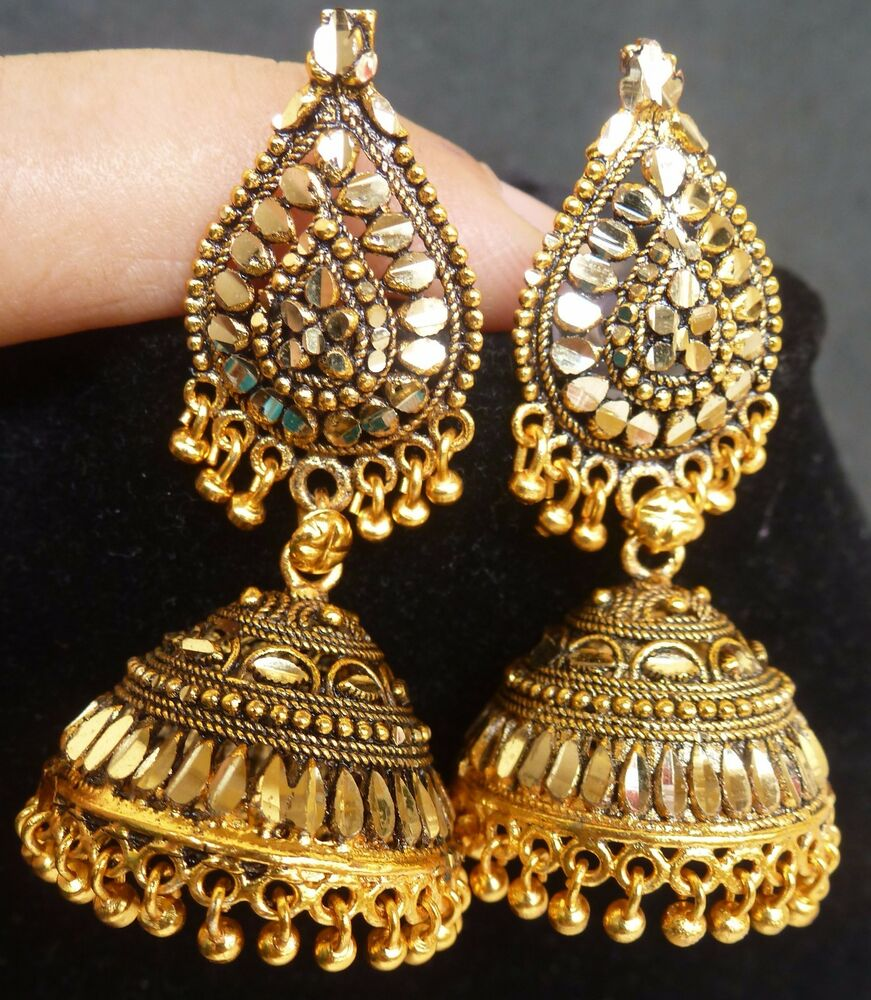 South Indian Jewellery Designs For Brides To Look Drop: South Indian Antique Gold Plated 3.5 Cm Long Jhumka Jhumki