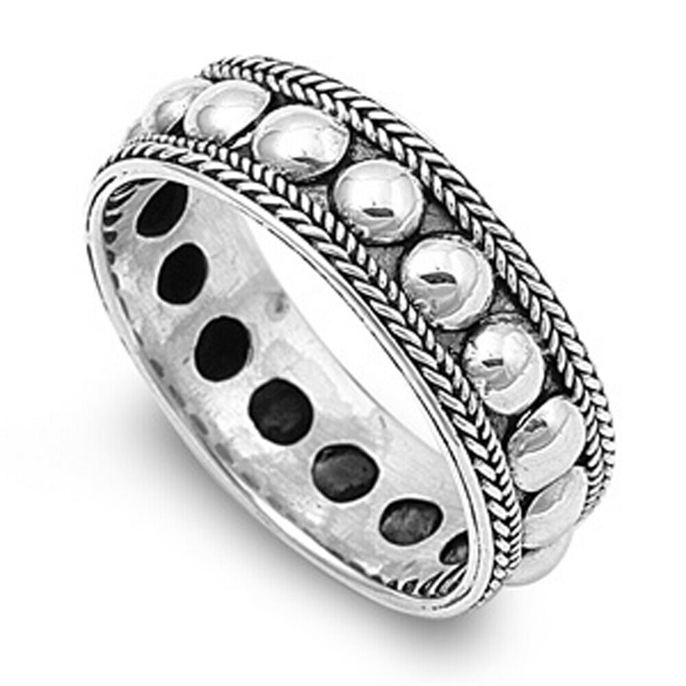 Rope Design Bands: Sterling Silver Womans Men's Bali Rope Bead Ring Unique