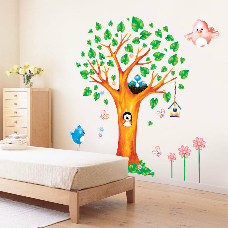 Birds cage tree removable kids baby nursery bedroom wall for Baby room decoration wall stickers